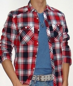 blue-t-shirt-under-a-red-black-white-plaid-shirt